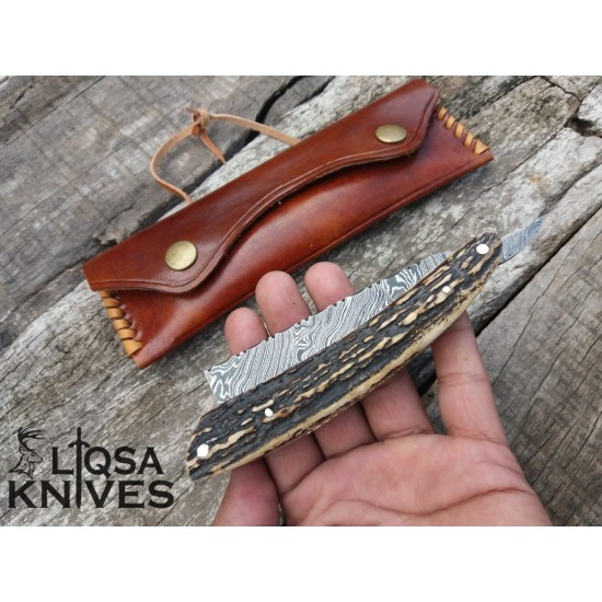 Damascus steel Straight Razor/Shaving Razor LRZ-003