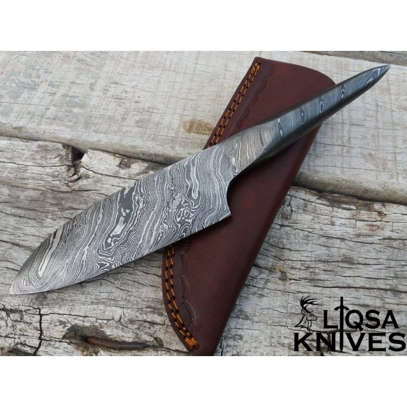 DAMASCUS STEEL FULL TANG SOLID MEDIEVAL ANTIQUE CHEF KNIFE THF-002