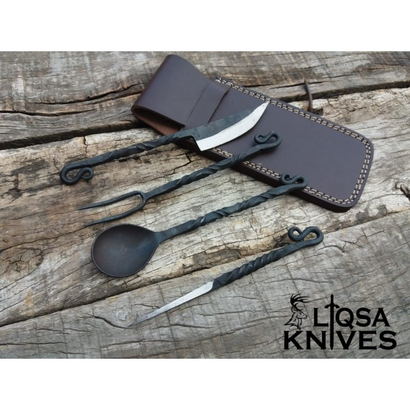 4 pcs iron hand forged antique cutlery set