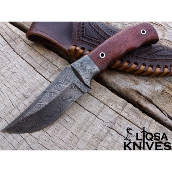 LTQSA SPECIAL EDITION DAMASCUS STEEL HUNTING KNIFE VENGE HANDLE AND TOOLED LEATHER SHEATH LTHK-045