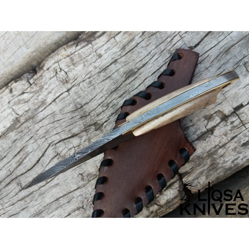 DAMASCUS STEEL NECK KNIFE SMALL HUNTING KNIFE STAG ANTLER HANDLE LTSK-037
