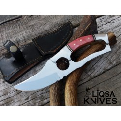 D2 tool steel custom hand made D-guard and finger hole gripped hunting knife LTS-0172