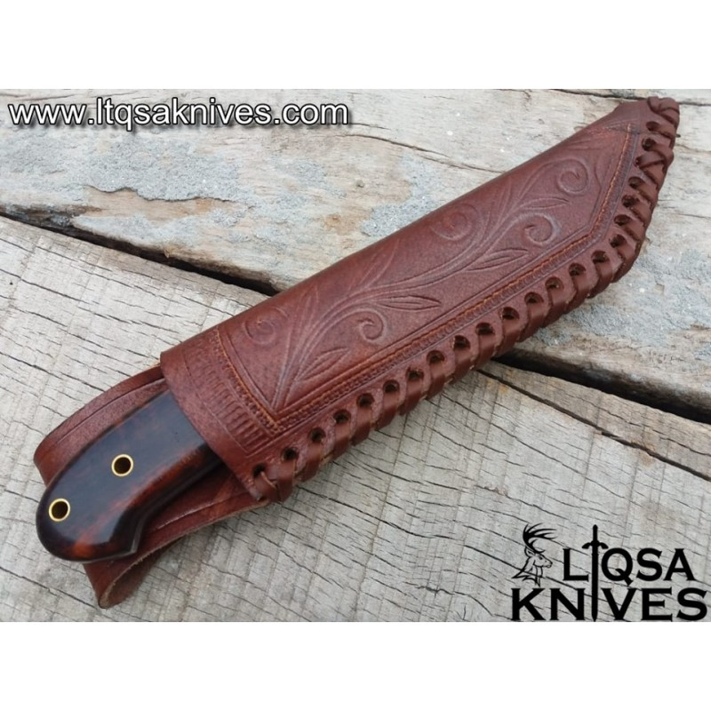 Damascus steel Tanto Hunting Knife Snake wood handle SW-001