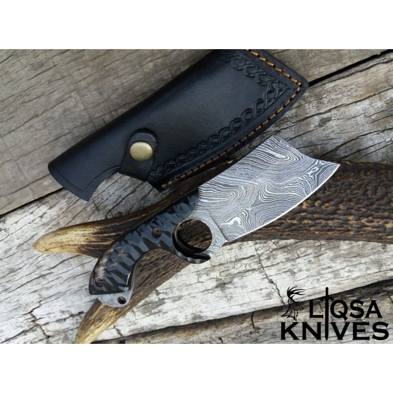 Damascus steel finger hole hunting knife small chopper LTHK-0172