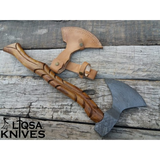 Damascus steel custom made vikings axe Tomahawk LTX-041