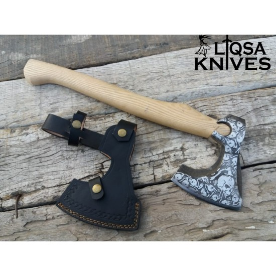 Christmas offer 50% OFF one of a kind Forged and etched tomahawk ash wood handle