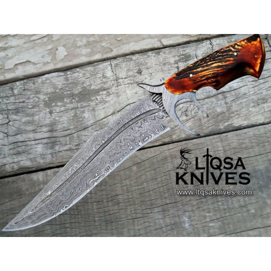 Classic style Damascus Steel Bowie Knife LTBW-0971
