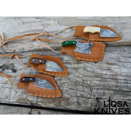 4 pieces Damascus steel assorted miniature set with hand made sheaths included LTM-004