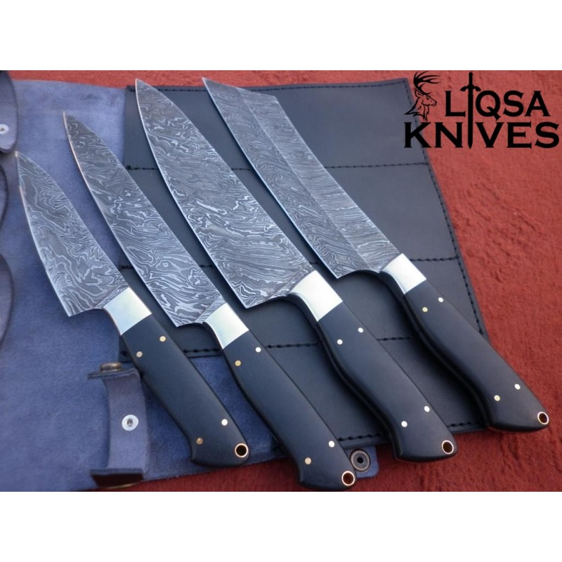 Damascus Steel Chef Knives Set Ltc 10