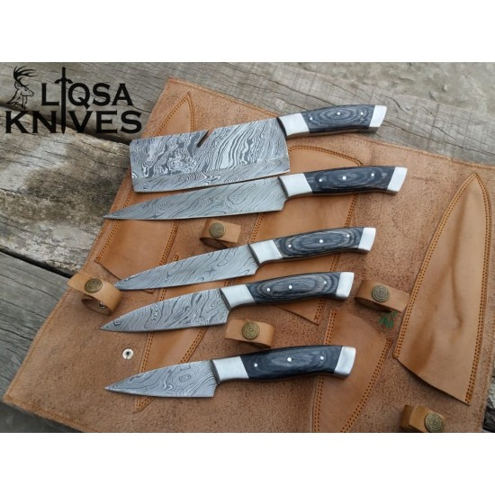 Damascus steel chef knife set 5 pieces hand crafted Kitchen knives LTC-026
