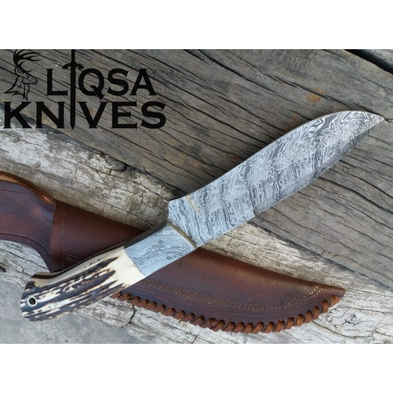 Damascus steel hunting knife stag antler handle LSTG-099