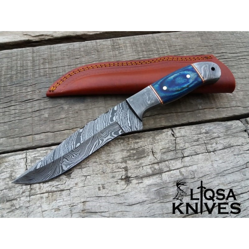 Damascus steel custom made hunting knife LTHK-027
