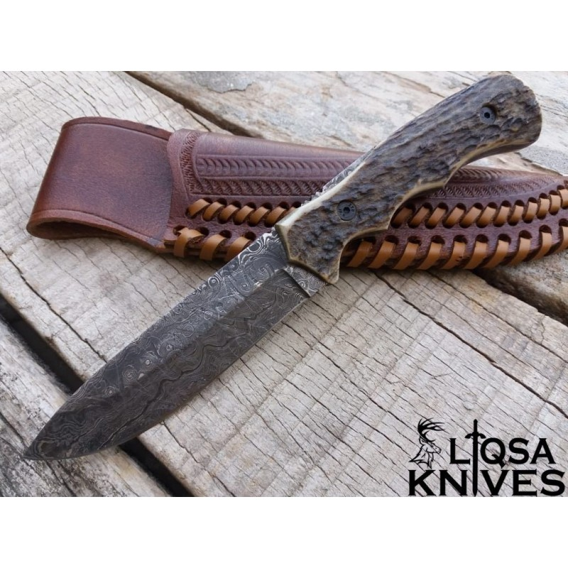 Custom hand made beautiful Damascus Hunting/survival fixed blade LTHK-099