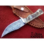 Damascus steel hunting knife |Ibex -11